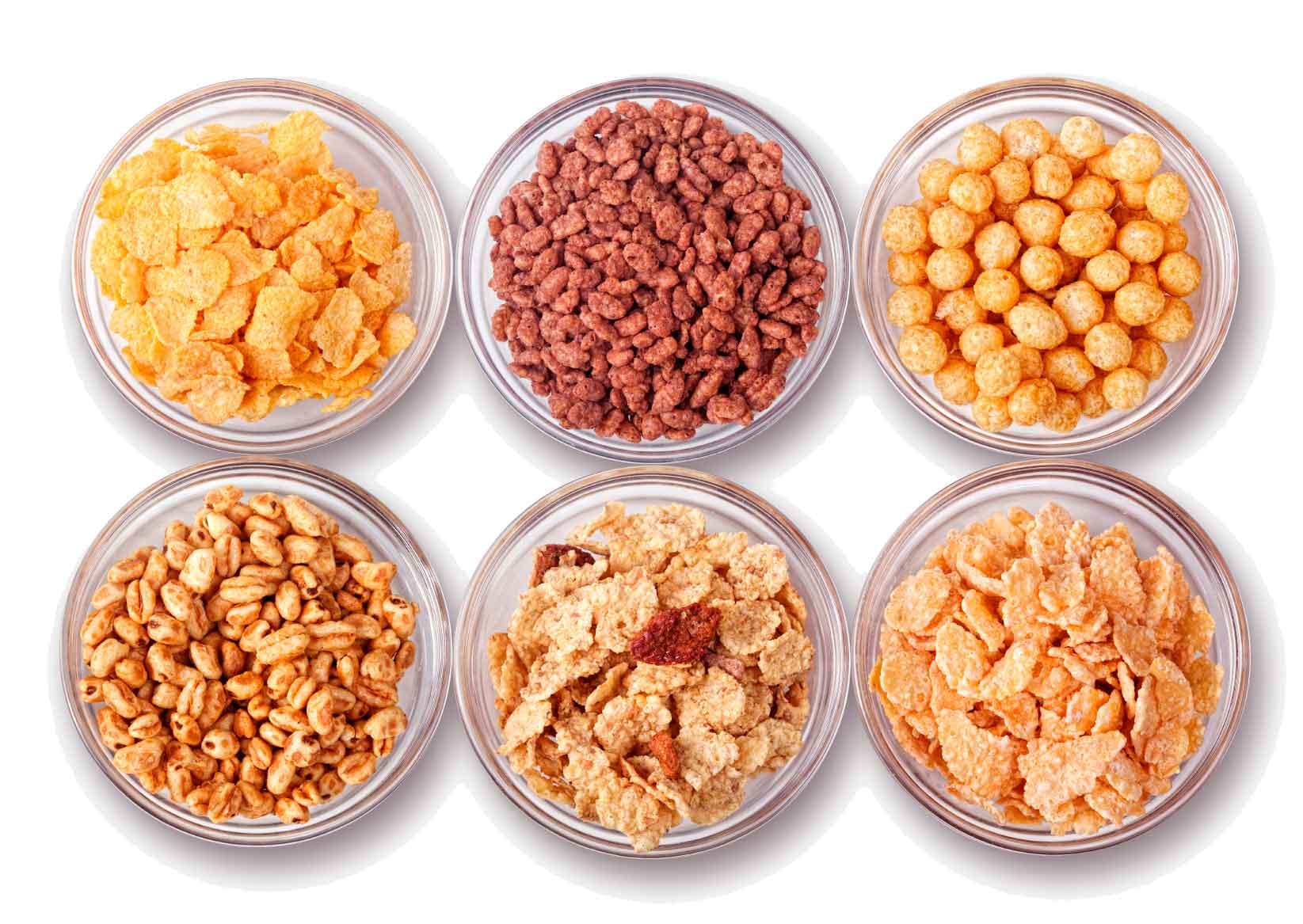 distintos tipos de cereales para el desayuno